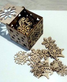 Laser Cut Snowflakes Christmas Tree Decoration Box Free Vector