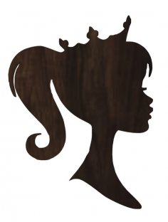 Laser Cut Barbie Head With Crown Princess Plywood Decoration Free Vector