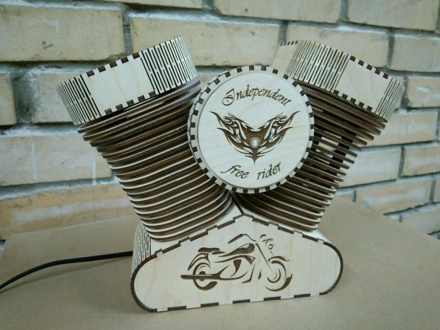 Laser Cut Harley Davidson Lamp Night Light Free Vector