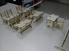 Laser Cut Miniature Classroom Furniture Free Vector