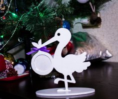 Laser Cut Stork Picture Frame For Baby Photo Free Vector
