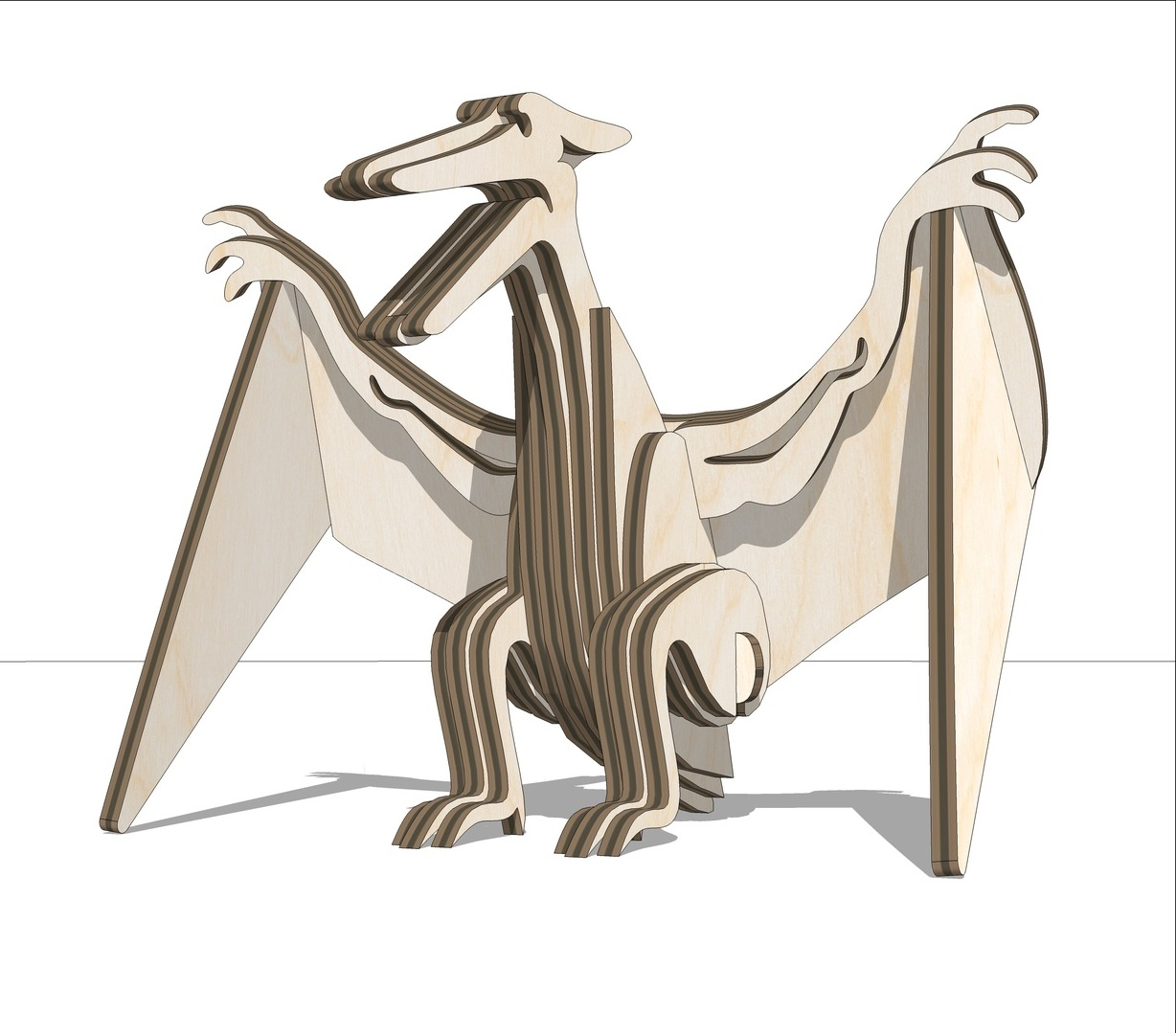 Laser Cut Wooden Pterodactyl Toy DXF File