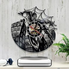 Laser Cut Spiderman Vinyl Record Clock Free Vector