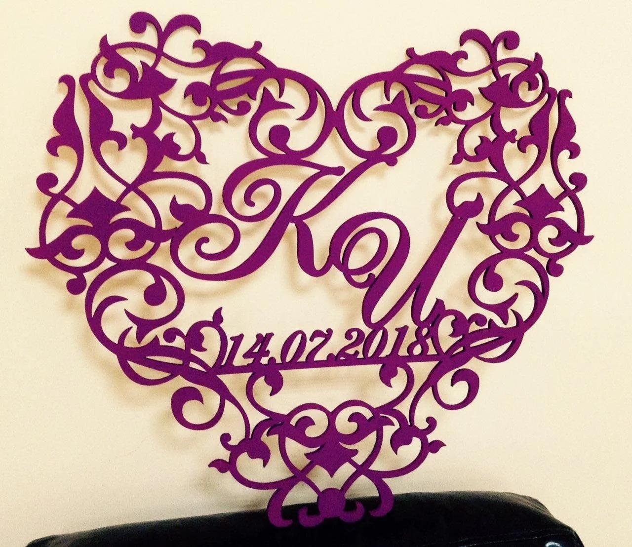 Laser Cut Decorative Heart Wedding Monogram Free Vector