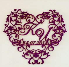Laser Cut Decorative Heart Wedding Monogram Free Vector