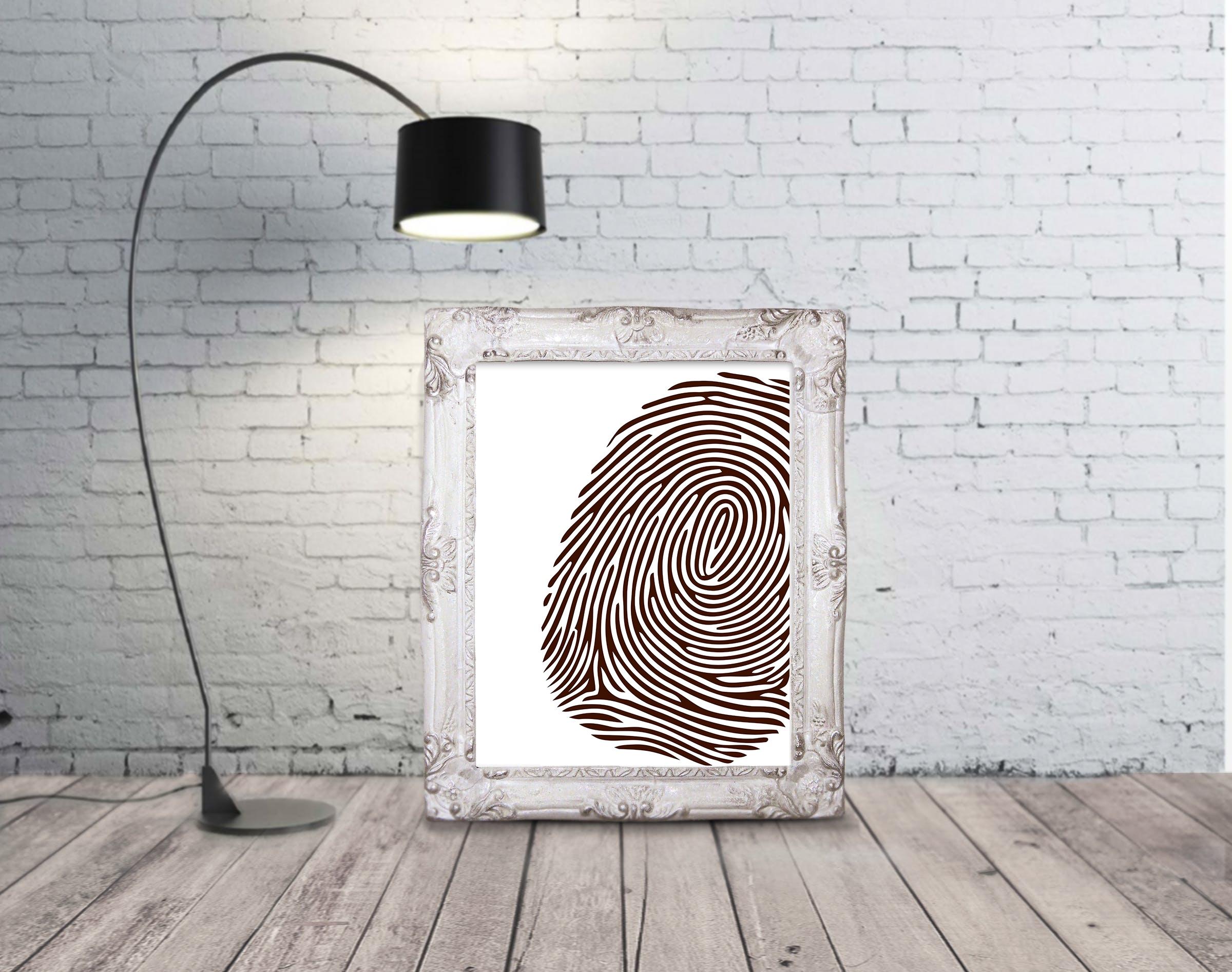 Laser Engraving Fingerprint Mockup Wall Art Free Vector