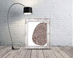 Laser Engraving Fingerprint Mockup Wall Art Free Vector