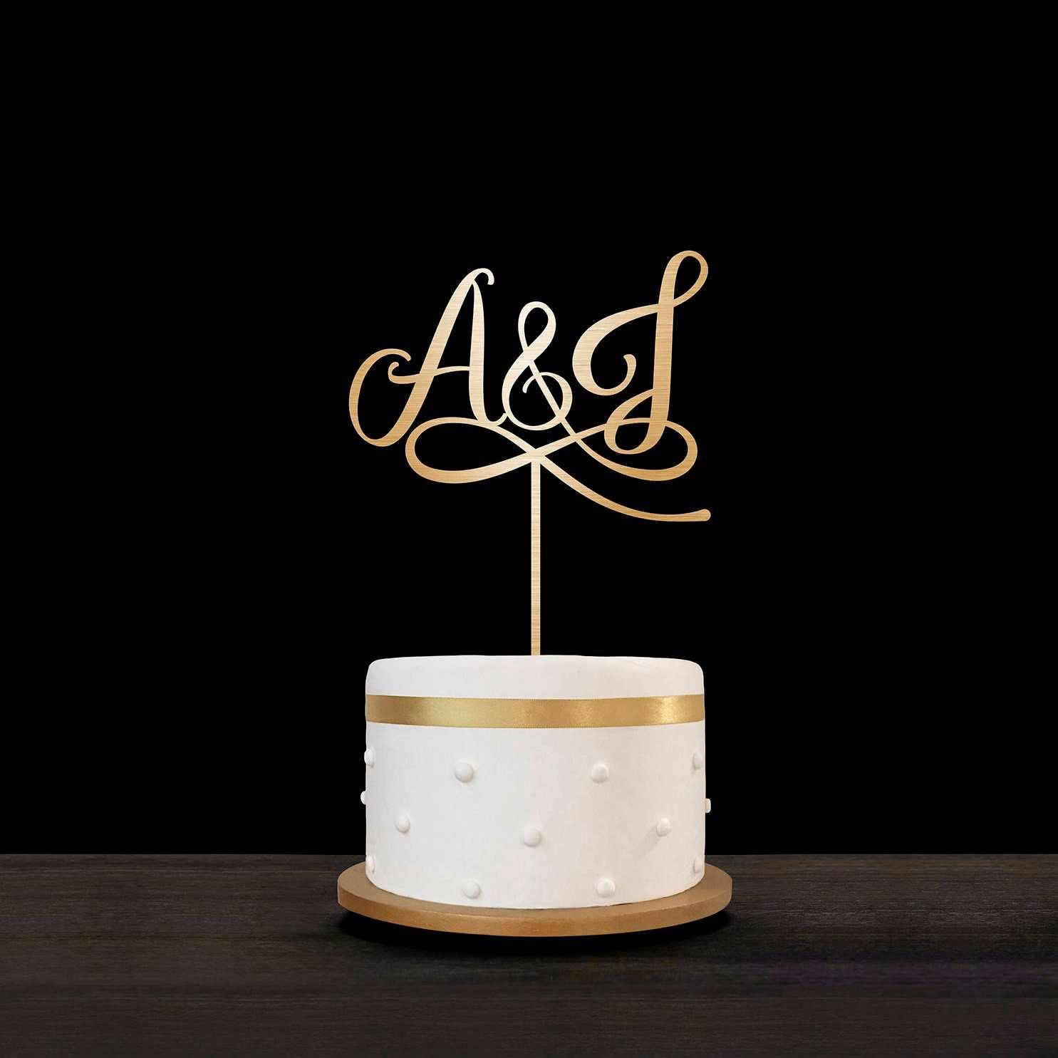 Laser Cut Initials Cake Topper Free Vector