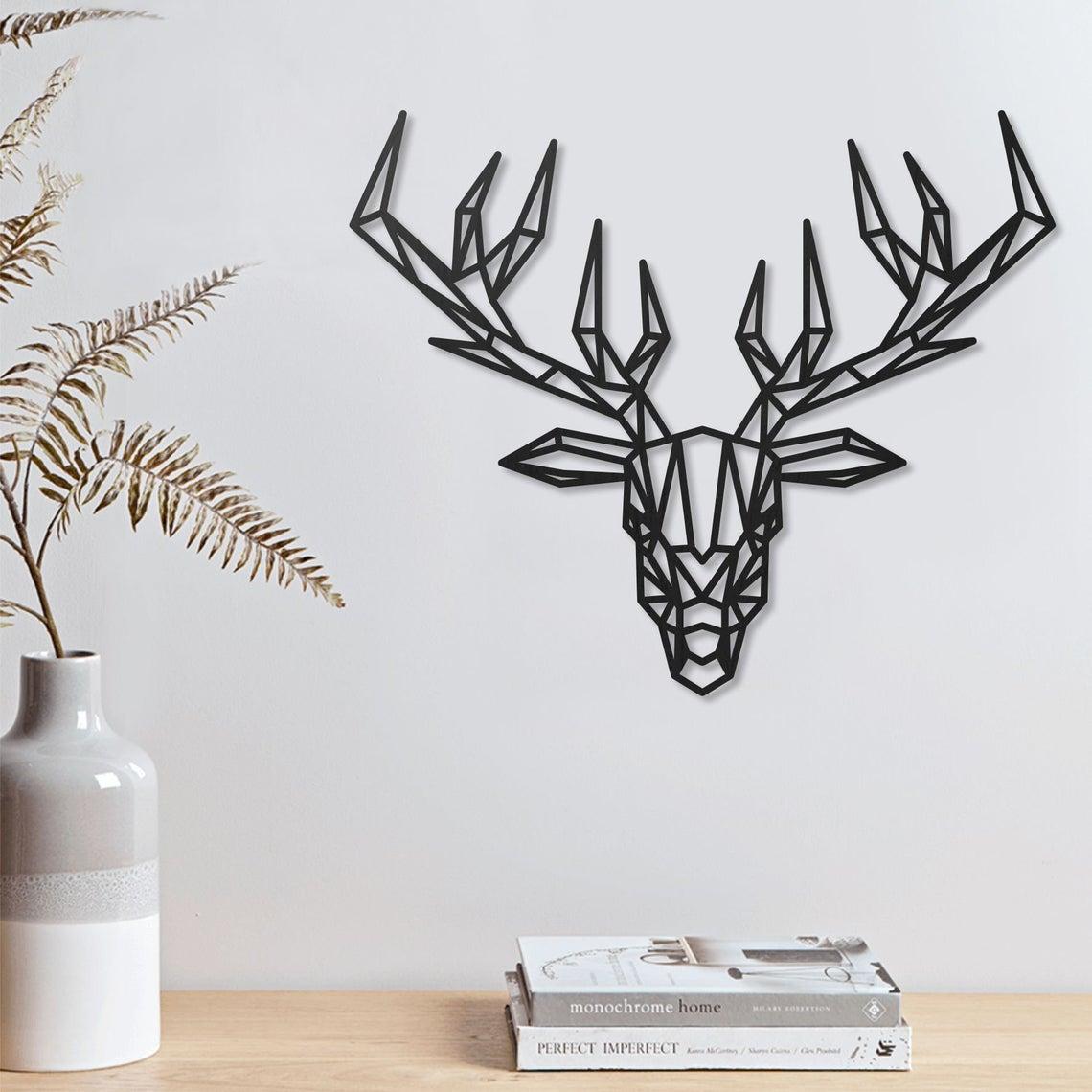 Laser Cut Deer Geometric Polygonal Modern Decor Animal Wall Art DXF File