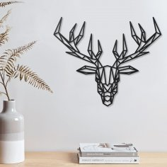 Laser Cut Deer Geometric Polygonal Modern Decor Animal Wall Art DXF File
