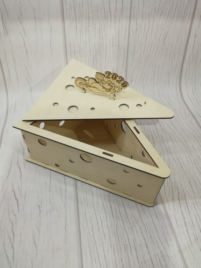 Laser Cut Cheese Shape Wooden Box Free Vector