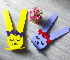 Laser Cut Bunny Rubber Band Holder Free Vector