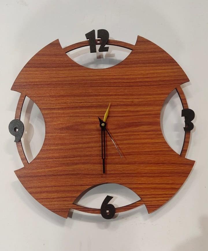 Laser Cut Contemporary Design Wall Clock Free Vector