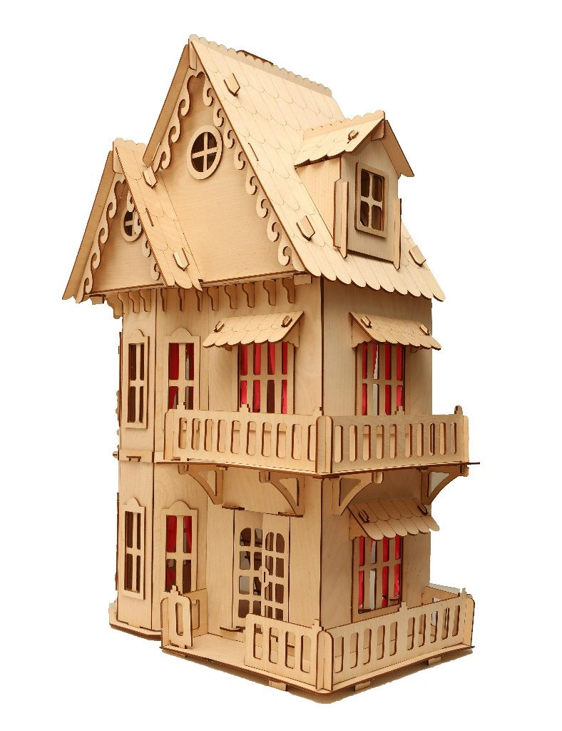 Laser Cut Wooden Dollhouse 3mm Free Vector