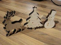 Laser Cut Snowman Christmas Ornaments Free Vector
