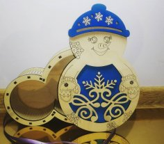 Laser Cut Snowman Christmas Gift Box Plywood Free Vector