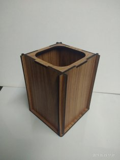 Laser Cut Wood Pen Holder For Desk Free Vector
