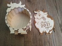 Laser Cut Bull New Year 2021 Gift Box New Years Eve Box Free Vector