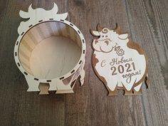 Laser Cut Bull New Year 2021 Gift Box New Years Eve Box Free Vector