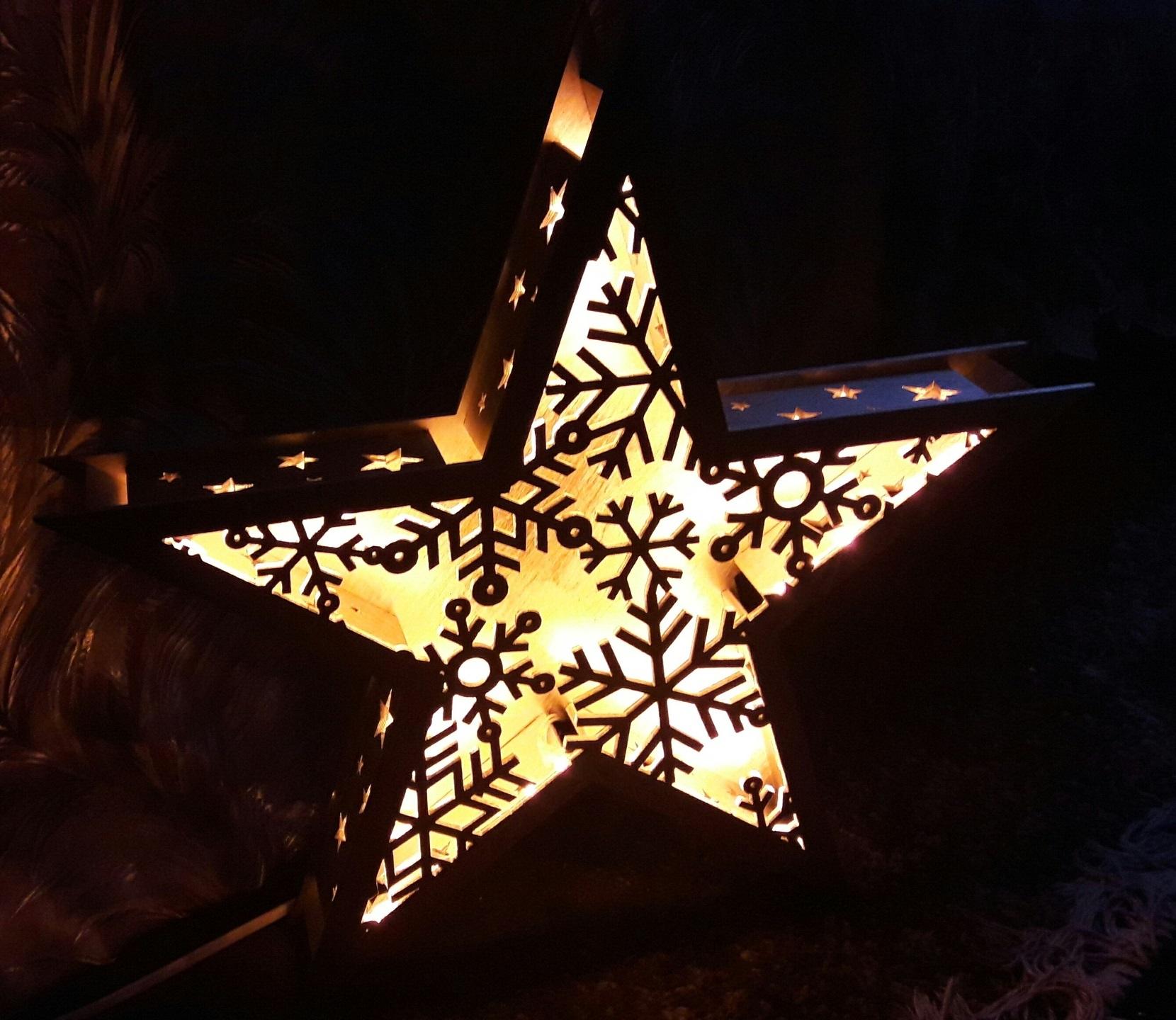 Laser Cut Star Lamp Snowflake Nightlight New Year Lamp Free Vector