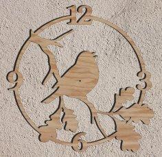 Laser Cut Bird Wall Clock Free Vector