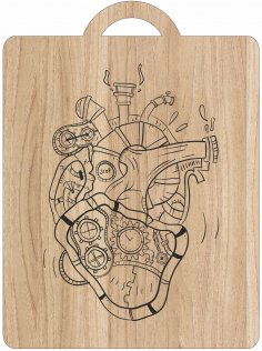 Laser Engraving Mechanical Heart Art On Cutting Board Free Vector