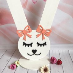 Laser Cut Bunny Rubber Bands And Hairpins Stand Free Vector