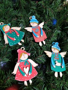 Laser Cut Christmas Hanging Ornaments Wood Angels Christmas Tree Decorations Free Vector
