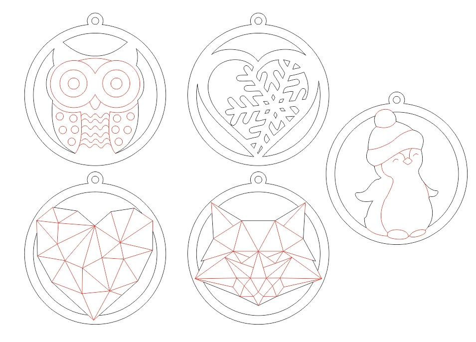 Laser Cut Christmas Beautiful Toys Free Vector