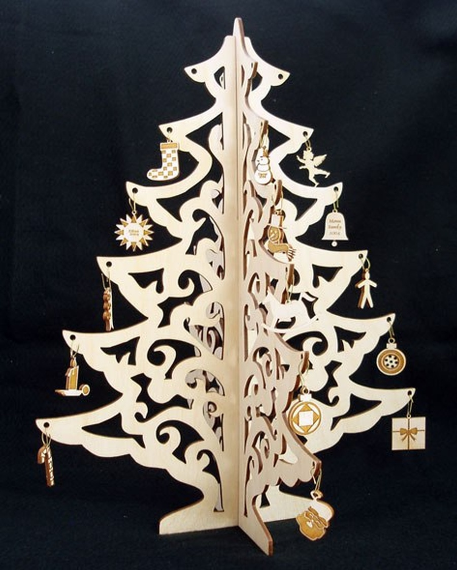 Christmas Tree Jewelry Didplay Wood Crafts Laser Cut Free Vector