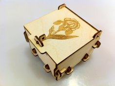 Flower Engraved Pinned Box 3mm Plywood Laser Cut Template DXF File