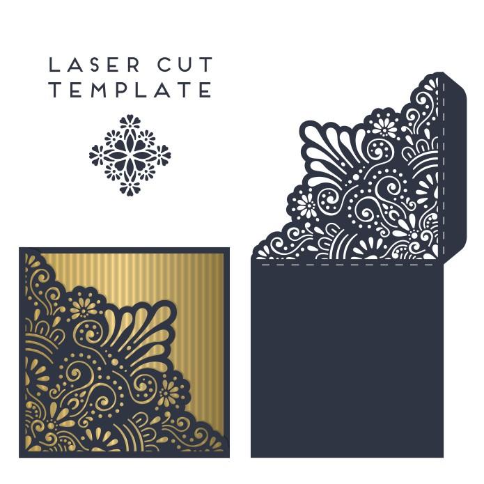 Laser Cut Wedding Invitation Card Template Free Vector