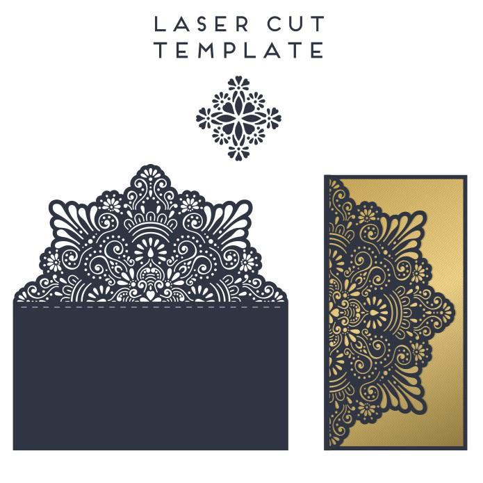 Laser Cut Greeting Card Postcard Design Template Free Vector