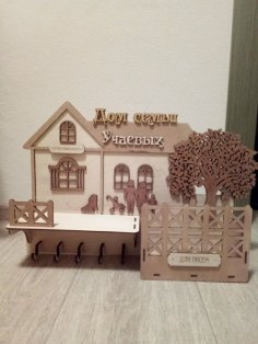 Wall Keys Hanger with Tree Laser Cutting Plans CNC Free Vector