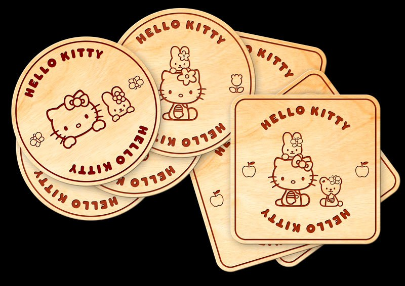 Laser Cut Hello Kitty Coasters with Holder Box Free Vector