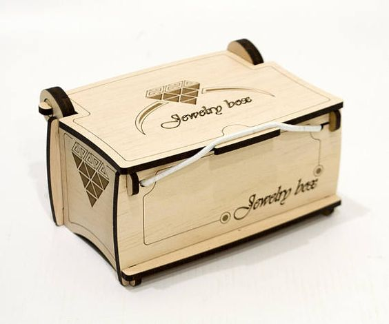 Laser Cut Wooden Jewelry Box with Lid Template Free Vector