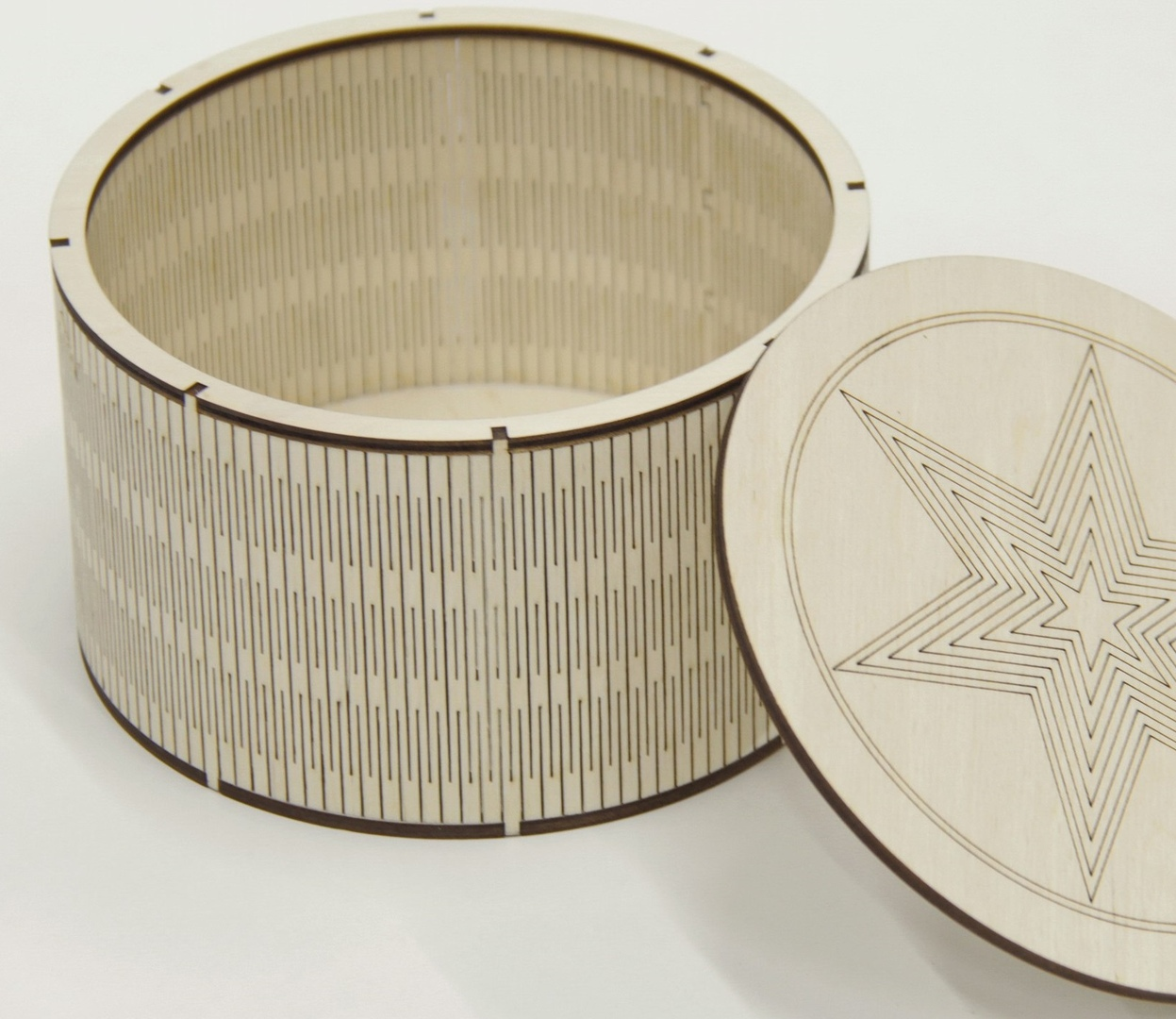Laser Cut Round Wood Box With Lid Living Hinge Box Free Vector