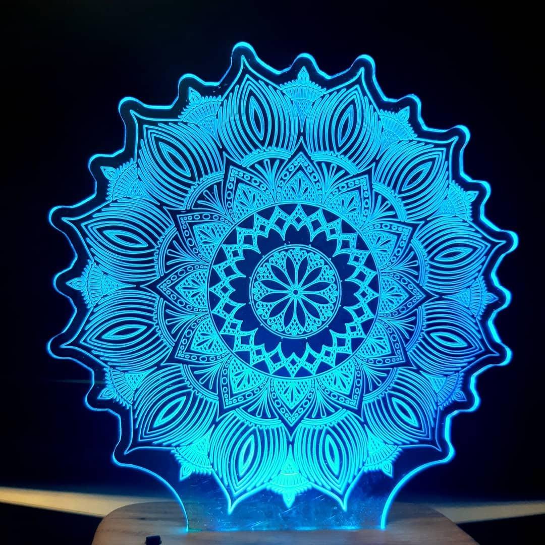 Laser Cut Star Mandala 3D Illusion Lamp 3D Night Light DXF File