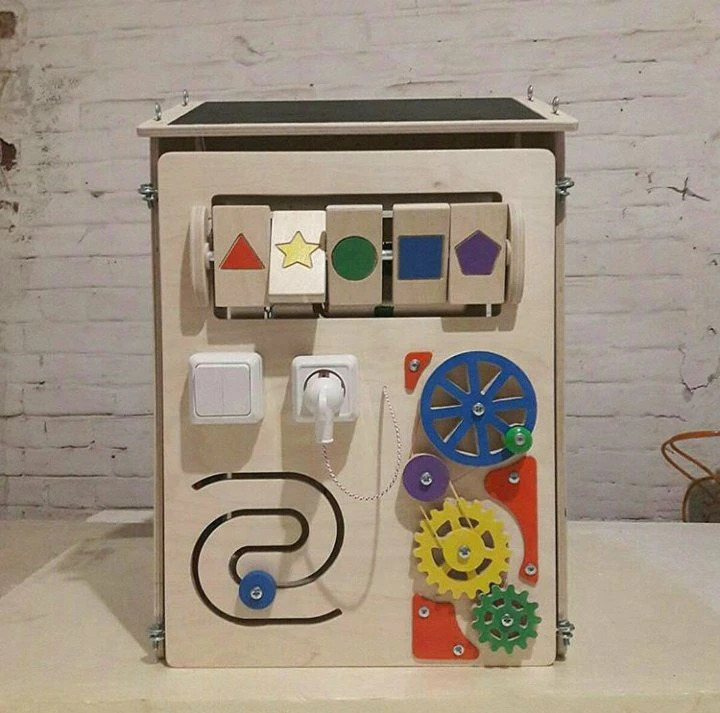 Laser Cut Wooden Montessori Educational Material Lock Latch Box Baby Kids Toys Gift Free Vector