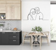 Laser Cut Valentine Wall Art Couple In Masks Free Vector