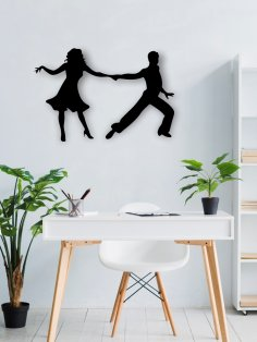 Laser Cut Dancing Couple Wall Art Free Vector