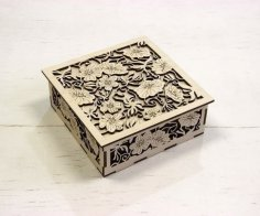 Laser Cut Carved Gift Box Decorative Treat Box DXF File