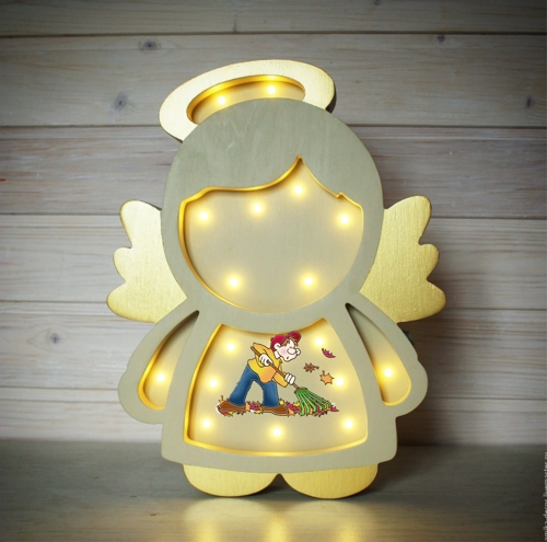 Laser Cut Angel Kids Room Night Light Lamp 5mm Free Vector