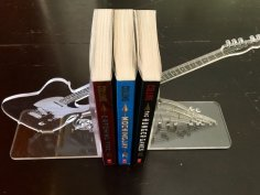 Laser Cut Acrylic Engraved Guitar Bookends Free Vector