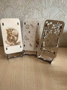 Laser Cut Engraved Decorative Mobile Stands Free Vector