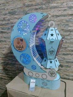 Laser Cut Ramadan Moon Lantern Free Vector