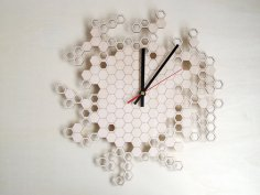 Laser Cut Honeycomb Wall Clock Home Decor DXF File