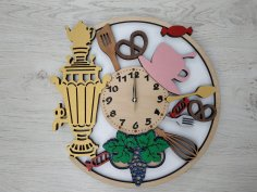 Laser Cut Samovar Wooden Wall Clock Free Vector