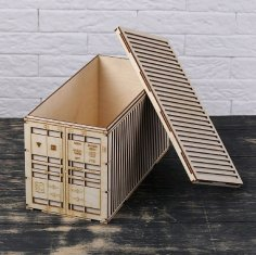 Laser Cut Shipping Container 3D Model Free Vector