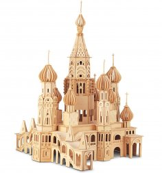 Laser Cut St. Petersburg Church 3D Wooden Puzzle Free Vector